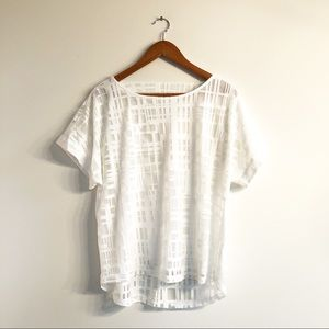 Sheer White Geometric Pattern Top